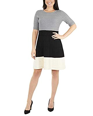 NY Collection Women's Elbow Sleeve Color Block Dress