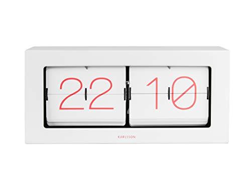 Karlsson BOXED FLIP XL Reloj de mesa y pared - Blanco/Coral Pink Digits