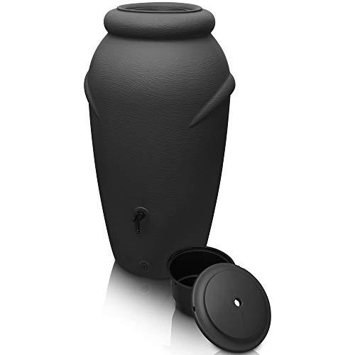 YourCasa Regentonne 210 Liter [Amphore Design] Regenfass Frostsicher aus Kunststoff - Regenwassertonne mit Wasserhahn - Regenwassertank Garten (Anthrazit)