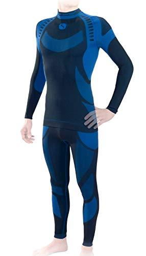 Sesto Senso® Herren Funktionsunterwäsche Set Skiunterwäsche Schnelltrocknend Langarmes Unterhemd Funktionsshirt und Lange Unterhose Funktionsleggings Thermoaktiv (S, Blau Set)