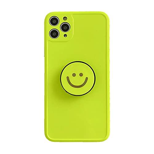 FQSCX Funda para iPhone Funda para teléfono con Sonrisa Fluorescente para iPhone 11 Funda 7Plus 8P 10 X XR Xsmax para iPhone 12Pro Se 2020 con Soporte Funda Soft Imd Capa Foriphonexr T1