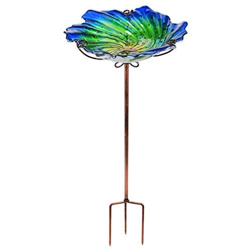 VCUTEKA Glass Bird Bath Outdoor Birdbath Garden Yard Bird Feeder with Metal Stake