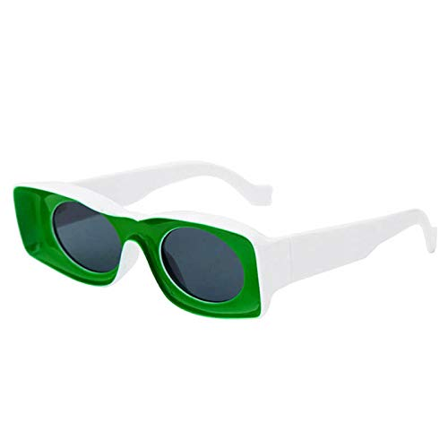ShZyywrl Gafas De Sol De Moda Unisex Gafas De Sol Cuadradas De Moda Mujeres Hombres Gafas De Sol con Montura Transparente De Moda Uv400 C6-Verde
