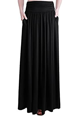 TRENDY UNITED Women's Rayon Spandex High Waist Shirring Maxi Skirt With Pockets