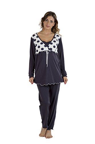 Premamy - Pyjama für Mutterschaft, Schleife Stil, Zwei-Wege-Stretch-Baumwolle, prä-Post-Partum - Blau - V (L)