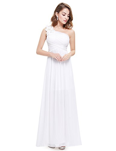 Ever-Pretty Womens One Shoulder Long Party Dress 4 US White