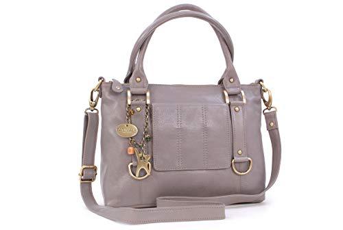 Catwalk Collection Handbags - Vera Pelle - Borsa a Tracolla/Borse a Mano/Spalla/Messenger/Tote/Tracolla Regolabile e Rimovibile - Con Ciondolo a Forma di Gatto - Gallery - GRIGIO