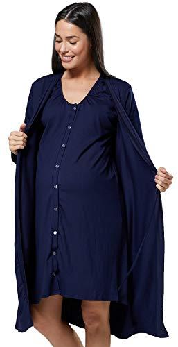 HAPPY MAMA Donna Set Vestaglia e Camicia da Notte prémaman L'Allattamento 1009 (Marina, IT 50/52, 2XL)