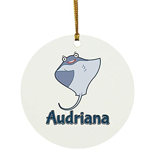 Weezag Audriana Stingray Fish Christmas Ornaments Tree Decor Decorations, Custom Personalized with Your Name Xmas Ornament Marine Biologist Gifts, 9296