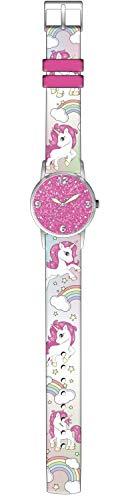 Kids Licensing |Reloj Analógico Niños | Reloj Unicornio |Diseño Glitter |Reloj Infantil con Efecto Purpurina | Reloj de Pulsera Infantil | Reloj de Aprendizaje | Medidas 4.5 x 24 cm | Licencia Oficial