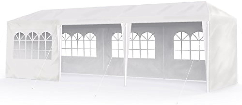 Sekey Garten 3×9m Wasserdicht Pavillon Gartenpavillon Verstellbare Gartenzelt Beine, für Garten Party Hochzeit Picknick, UV30+,Seitenwnden,wei