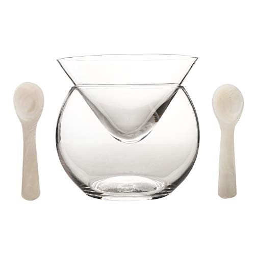 DUEBEL Kaviar Kühllerheber Set plus 2 Stück Perlmutt-Löffel Kaviar 8cm - Universal Martini, Wein, Likör, Cocktailkühler