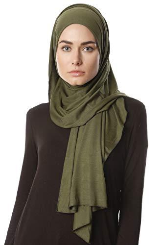 Ecardin Hijab Jersey Premium Melek - Schwarz Elastisch Jersey Schal (Khaki)