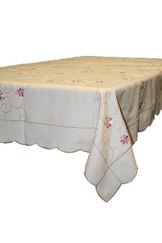 """New Orleans Embroidered Design Tablecloth - Beige 70"""" X 108"""" Oblong / Rectangle"""