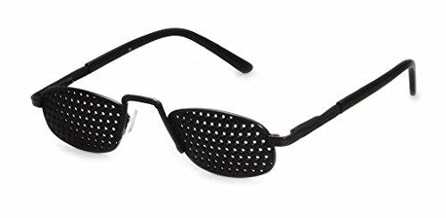Gafas estenopeicas de metal 420-RSG, gafas reticulares, negras, rejilla de superficie completa con agujeros redondos, incl. accesorios