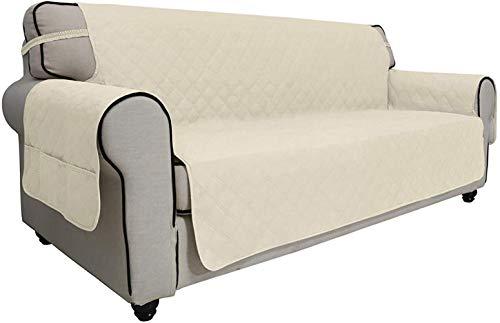 Mazu Homee Juego de sofá impermeable con 3 almohadillas, juego de sofá antideslizante para mascotas enteras con funda protectora para muebles de tela, apto para niños, gatos y perros (sofá, gris)