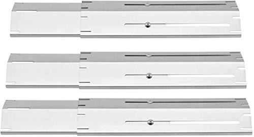 Onlyfire Placa de calor ajustable de repuesto universal de acero inoxidable para la mayoría de las parrillas de gas, se extiende de 29.85 cm a 53.34 cm L, juego de 3