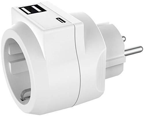 revolt USB Steckdosenadapter: 3in1-Steckdose mit USB Typ C & 2x USB Typ A, 230 Volt, 3,6 A, 18 Watt (USB Ladeport)