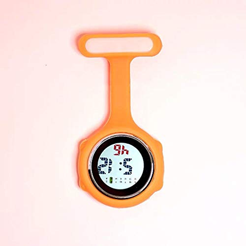 Cxypeng Taschenuhr/Krankenschwesteruhr,Multifunktionale Kaltlicht-Digitalanzeige Krankenschwester Uhr, Wecker Taschenuhr-Orange,Krankenschwester FOB-Uhr