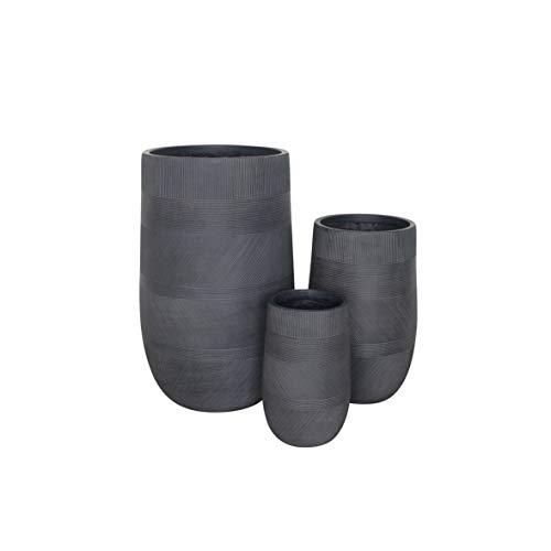 Vasi per Piante Rotondi da Interno Ed Esterno Set da 3 Dimensioni Moderni Vaso di Design in Resina Colore Taupe, G.47 X 47 X 75/M.34 X 34 X 54/P.24 X 24 X 39