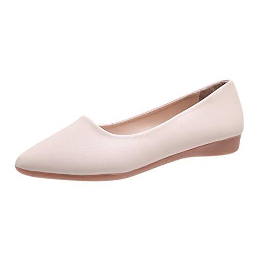 Frauen Mokassin Wedges Schuhe Lofer Spitzschuh Slip-On Schuhe Einfarbig Arbeits Einzelne Schuhe Erbsenschuhe, Beige, 38 EU