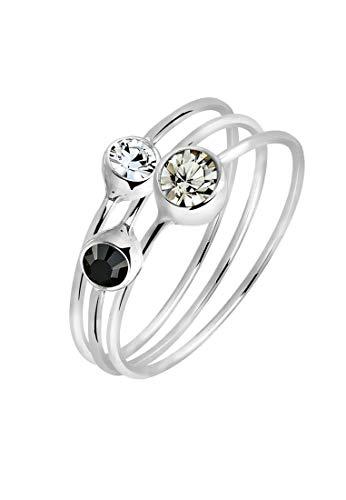 Elli Ring Damen Set Stacking mit Swarovski Kristallen in 925 Sterling Silber