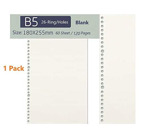 Pup-Town B5-26 Löcher Refill Leeres Papier, 26-Ring Binder 60 Blatt / 120 Seiten für B5 Nachfüllbar Tagebuch