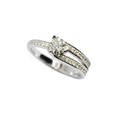 Anillo Solitario Oro Blanco con Diamantes