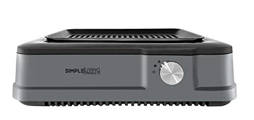 Simple Living Products Infrared Indoor Smokeless Grill, Non Stick Cooking Surface, Smokeless Indoor BBQ Grill, Custom Recipe Cookbook, 1800 Watts (Grey)