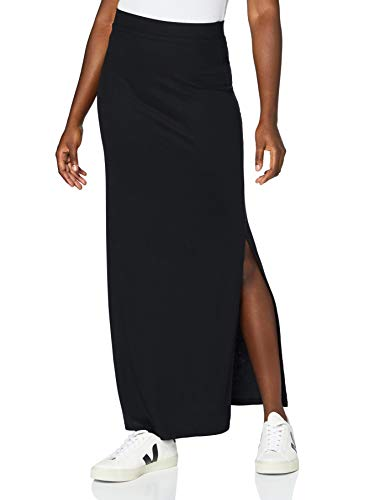 Amazon-Marke: MERAKI Damen Slim Fit Maxi-Rock mit Feinripp, Schwarz (Black), 44, Label: XXL
