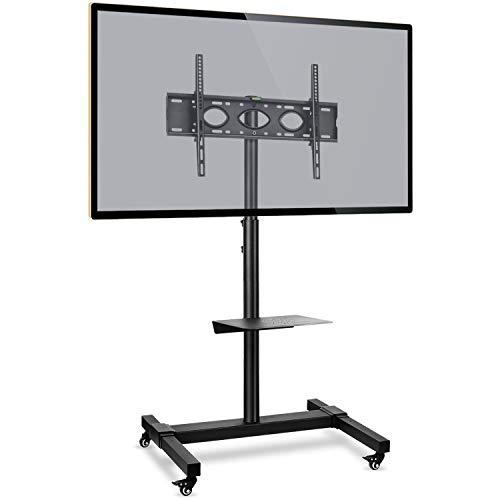 RFIVER Soporte TV con Ruedas de Suelo Carro TV Móvil para televisiones 32 37 42 47 50 55 60 65 70 Pulgadas LCD LED Plana Curva Negro MT1003