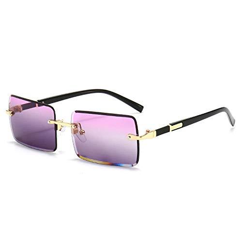 hqpaper Gafas de sol cuadradas con borde sin montura Gafas de sol sin montura de metal de moda-Rojo superior e inferior gris