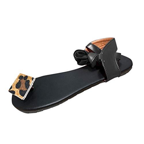 Beonzale Sommer Riemchensandalen Frauen Flat Open Toe Leopard Freizeitschuhe Römische Schuhe Schnallenriemen Freizeitschuhe Schuhe