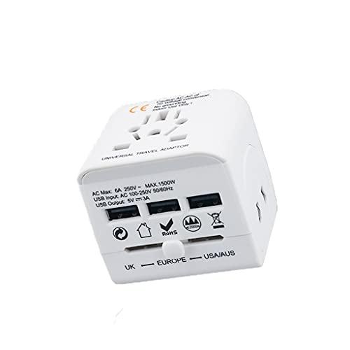 XWF Internationaler Netzteil. Universal-Reiseadapter, weltweiter Reise-Ladegerät Reisebuchse, International Power Ladegerät AC-Steckeradapter mit 3 USB-Anschlüssen Weltweiter Reiseadapter