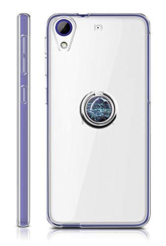 Sunrive Für HTC Desire 650/628 / 626 / 626G Hülle Silikon, Transparent Handyhülle 360°drehbarer Ständer Ring Fingerhalter Fingerhalterung Schutzhülle Etui Case(Blauer Marmor) MEHRWEG