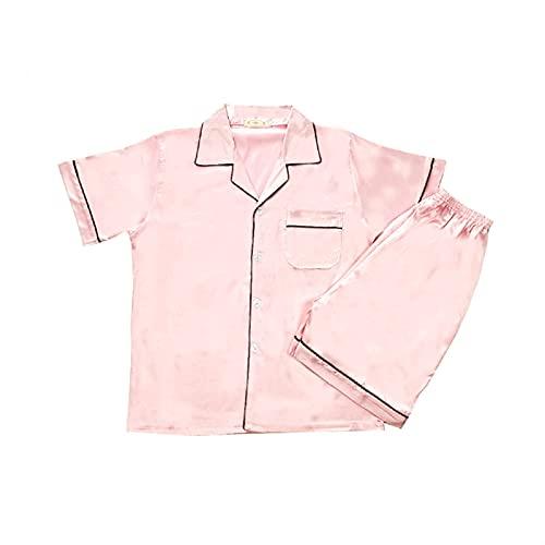 Pijamas de seda para hombres, pijamas de satén para hombre, pijamas cortas, paj, conjunto, ropa de dormir, ropa de dormir. (Color : Pink, Size : Large)