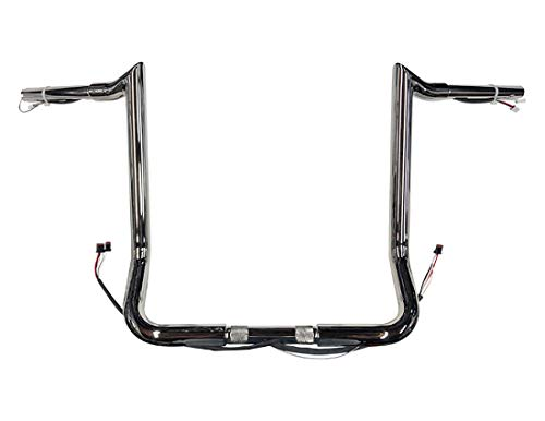 Dominator Industries 1 1/4' PRE-WIRED 14' Meathook Monkey Bar Ape Hangers Handlebars Compatible With 2014-2021 Harley-Davidson Bagger Electra & Street Glide Special Ultra Limited & Low (Chrome)