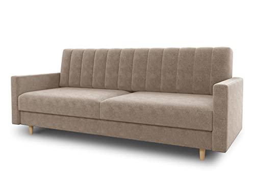 Schlafsofa Sara - Sofa mit Schlaffunktion und Bettkasten, Bettsofa mit Wellenfeder, Schlafcouch mit Holzfüße, Couch vom Hersteller, Couchgarnitur, Velours (Beige (Paros 02))