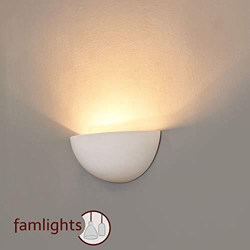 famlights Gips-Wandleuchte Marion,weiß | halbrunde Wandlampe edel Wandbeleuchtung Wohnzimmer-Lampe modern Designerleuchte Flur-Lampe Designerlampe überstreichbar Esszimmer-Leuchte Wandstrahler Uplight