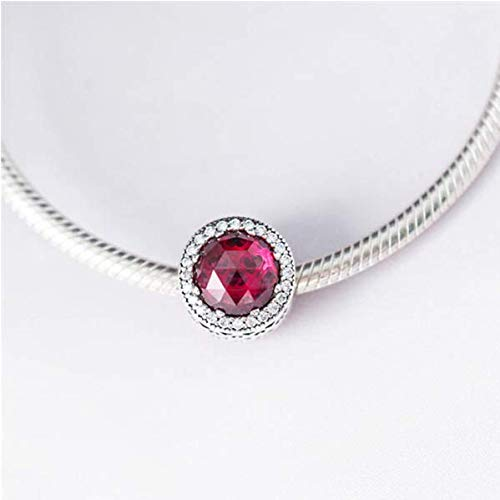 CKK 925 Sterling Silver Classic Red Crystal Charms for Pandora Charms Bracelets Jewelry Making