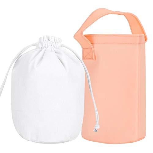 Omabeta PVC-Handtasche im koreanischen Stil wasserdichte Frauentasche Tragbare Strandtasche mit zylindrischer Form für den Travel Beach-Pool(Nude Pink)