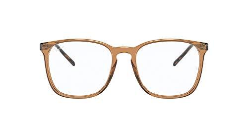 Ray-Ban VISTA 0RX5387 Gafas, Lente de demostración/marrón claro transparente brillante, 52 Unisex Adulto