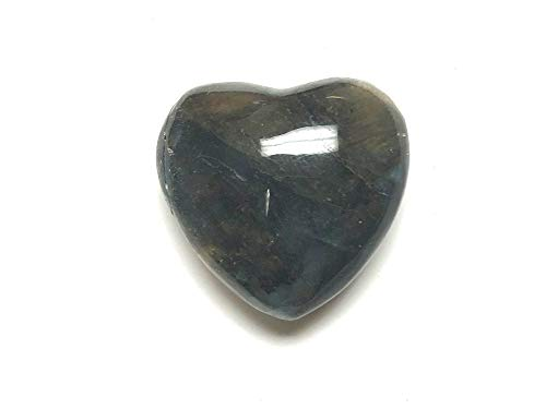 Zentron Crystal Collection 30MM All Natural Polished Pocket Gemstone Crystal Puff Heart and Velvet Pouch (Labradorite)