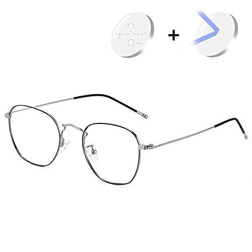 CAOXN Progressive Multifokale Lesebrille Herren Blaulicht Blockierende Presbyopia Brille Verstellbare Sehbrille Mit Dioptrien +1.0 Bis 3.0,Black Silver,+1.50