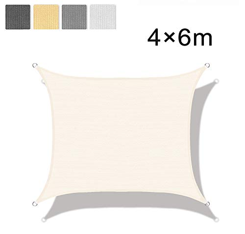 LOVE STORY Tenda da Vela Parasole(HDPE) Rettangolare 4×6m Beige Protezione UV per Terrazza Campeggio Giardino Esterno