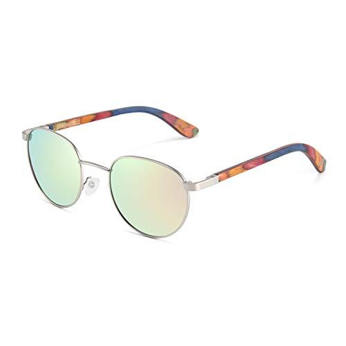 WOLA Gafas de sol con marco de metal y patillas de madera para mujer - Gafas de sol redondas FEU gafas de sol rosa con espejo