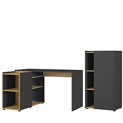 Germania 2-tlg. Büro-Set 8598-549 GW-Austin, bestehend aus Schreibtisch und Aktenschrank, im Dekor Graphit/Navarra-Eiche-Nb.