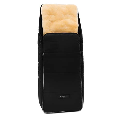 Lammfell Kinderwagen-Fußsack CORTINA von WERNER CHRIST BABY – Thermo Winterfußsack mit herausnehmbarem, echtem Fell, als Einlage für Buggy verwendbar (2-in-1) in schwarz
