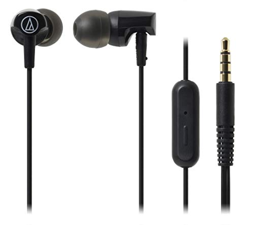 Audio-Technica ATH-CLR100iSBK SonicFuel In-Ear Headphones with In-Line Microphone & Control, Black