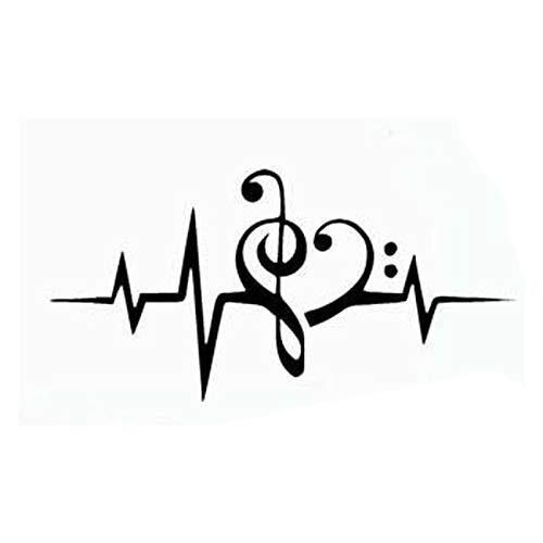 BLOUR Musik Herzschlag Monitor Hochwertige Mode Auto Dekoration Persönlichkeit PVC Wasserdicht Auto Fenster Aufkleber Schwarz/Weiß, 17cm * 8cm